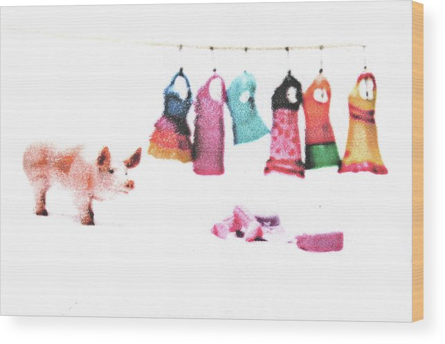 Pig Wood Print featuring the mixed media Stereotype by Kimberly Lavon