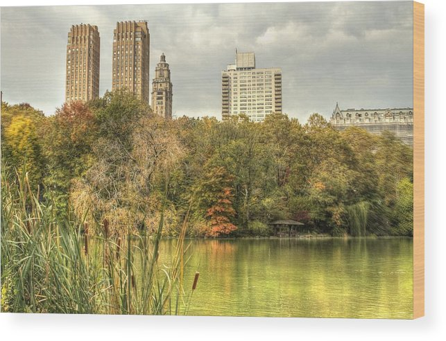 New York Wood Print featuring the photograph stone bridge in Central Park by Geraldine Scull