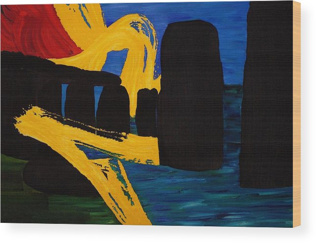 Stonehenge Wood Print featuring the painting Stonehenge Abstract Evolution1 by Gregory Allen Page