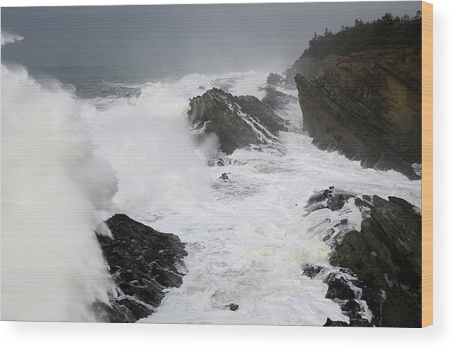 Lighthouse Wood Print featuring the photograph Storm On The Oregon Coast 2 by Bob Christopher
