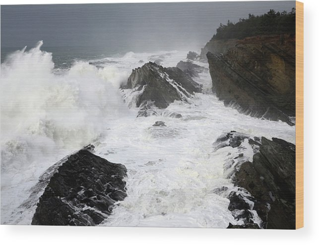 Lighthouse Wood Print featuring the photograph Storm On The Oregon Coast by Bob Christopher