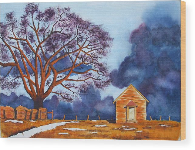 Storm Wood Print featuring the painting Stormy Afternoon by Ally Benbrook