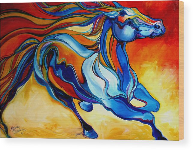 Horse Wood Print featuring the painting Stormy An Equine Abstract Southwest by Marcia Baldwin
