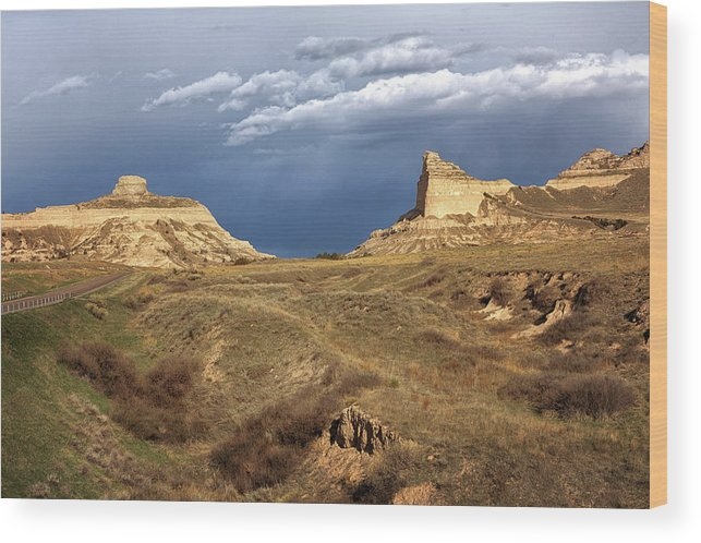 Scotts Bluff Wood Print featuring the photograph Stormy Day At Mitchell Pass by Susan Rissi Tregoning