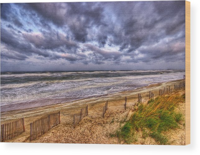 Water Wood Print featuring the photograph Stormy Dunes by E R Smith