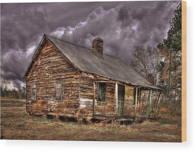 Reid Callaway The Shack Wood Print featuring the photograph Stormy Times Tenant House Greene County Georgia Art by Reid Callaway