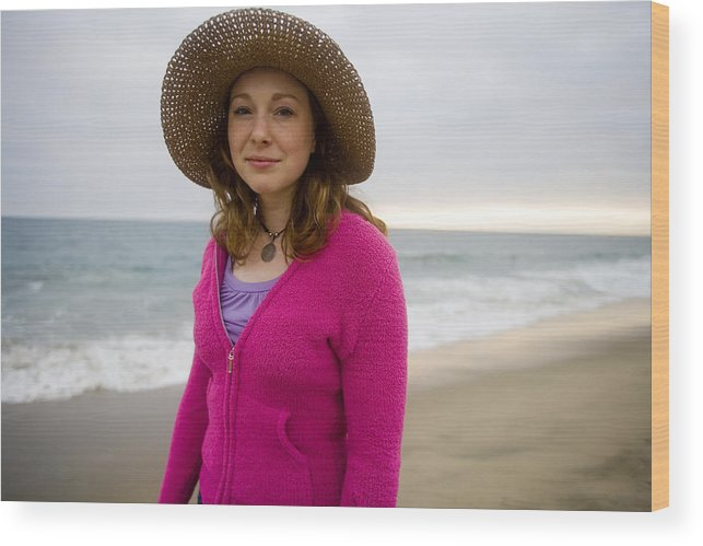 Girl Wood Print featuring the photograph Straw Hat At The Beach by Brad Rickerby