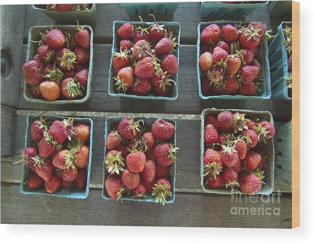 Strawberry Wood Print featuring the photograph Strawberries by Steven Dunn