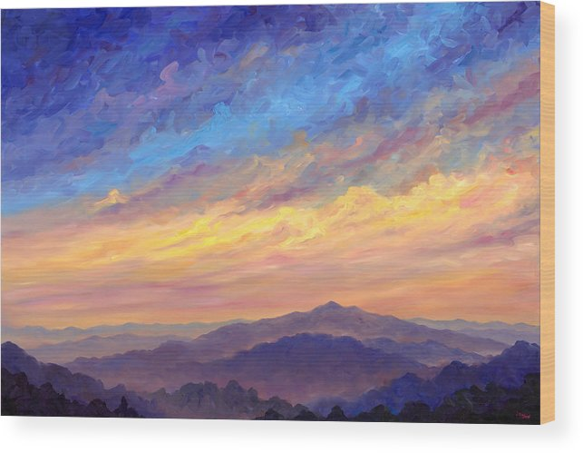 Cold Mountain Wood Print featuring the painting Streaking Sky Over Cold Mountain by Jeff Pittman