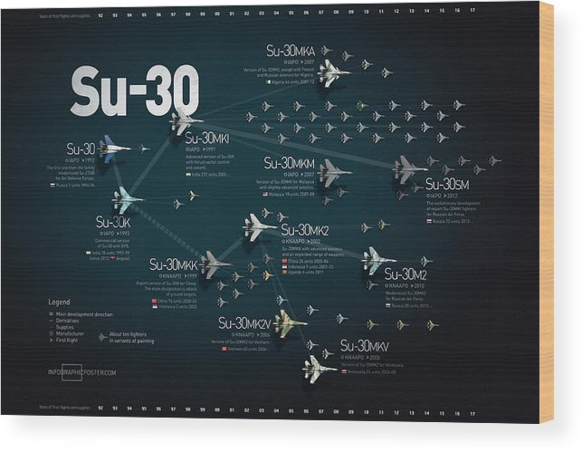 Military Wood Print featuring the digital art Su-30 Fighter Jet Family Military Infographic by Anton Egorov