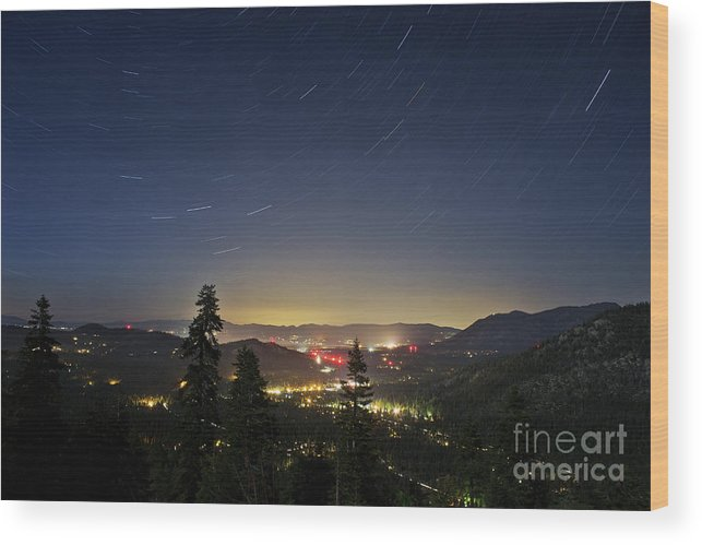 Forest Wood Print featuring the photograph Summer Night South Lake Tahoe by Su Thao