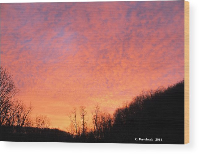 Clouds Wood Print featuring the photograph Sun Rise by Carolyn Postelwait
