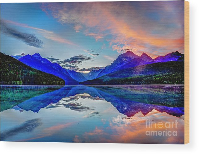 Bowman Lake Wood Print featuring the photograph Sunrise At Bowman Lake by Jean Hutchison