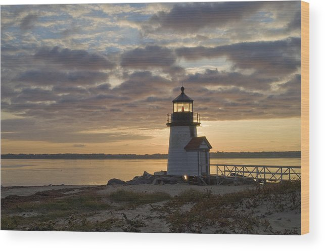 Krauzyk Wood Print featuring the photograph Sunrise At Brant Point Nantucket by Henry Krauzyk