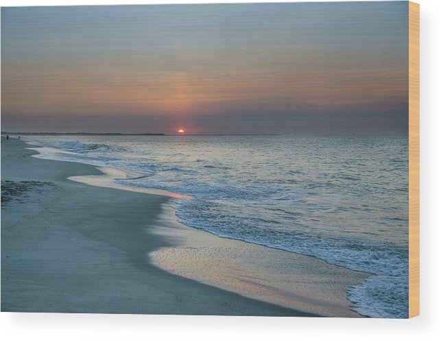 Sunrise Wood Print featuring the photograph Sunrise - Cape May Beach by Bill Cannon