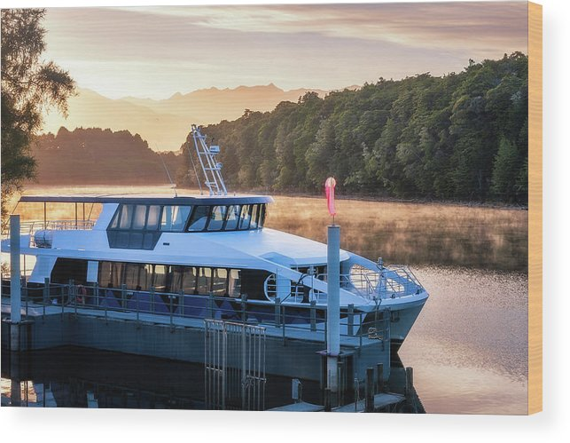 Doubtful Sound Wood Print featuring the photograph Sunrise Cruise To Doubtful Sound by Daniela Constantinescu
