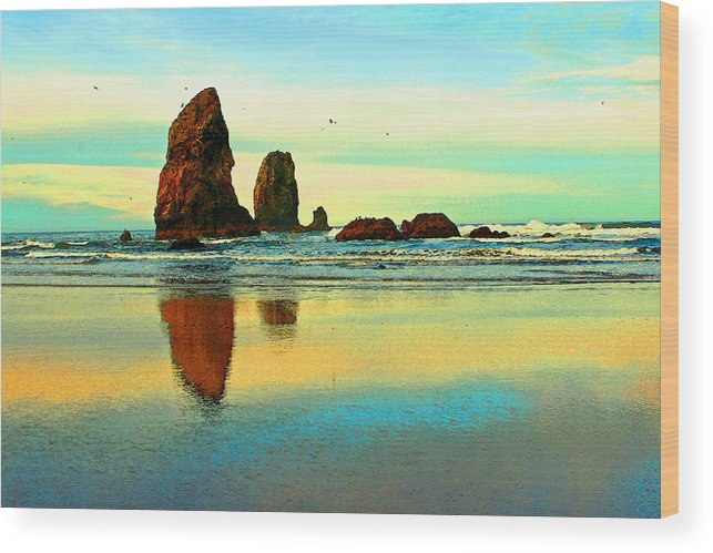 Cannon Beach Wood Print featuring the photograph Sunrise The Needles At Cannon Beach by Margaret Hood
