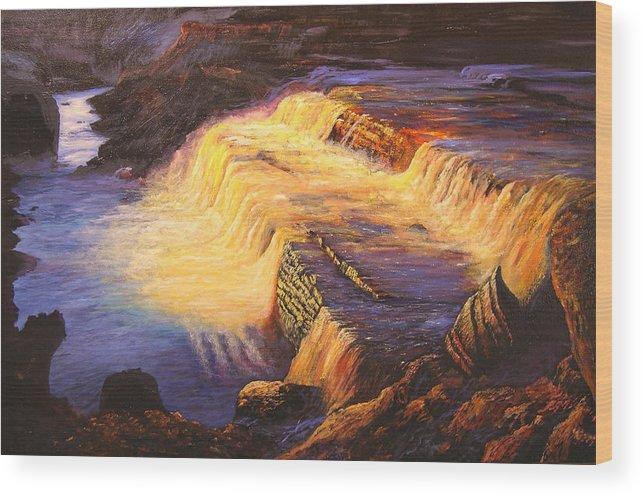 Connie Tom Wood Print featuring the painting Sunset At Grand Falls by Connie Tom