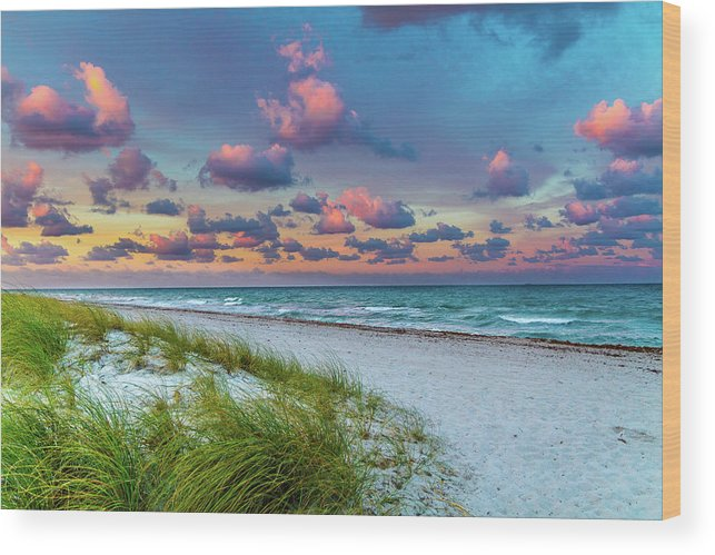 Sunset Wood Print featuring the photograph Sunset Beach by Frank Molina