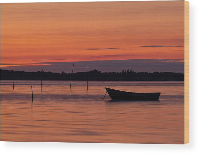 Boat Wood Print featuring the photograph Sunset Boat by Gert Lavsen