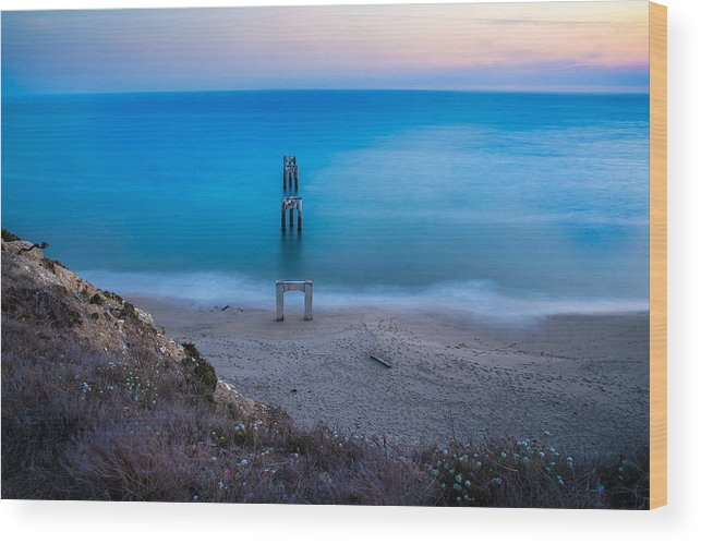 Ocean Wood Print featuring the photograph Sunset In Blue by Janet Kopper