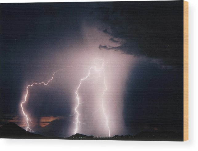 Lightning Photography Wood Print featuring the photograph Sunset Lightning by Cathy Franklin