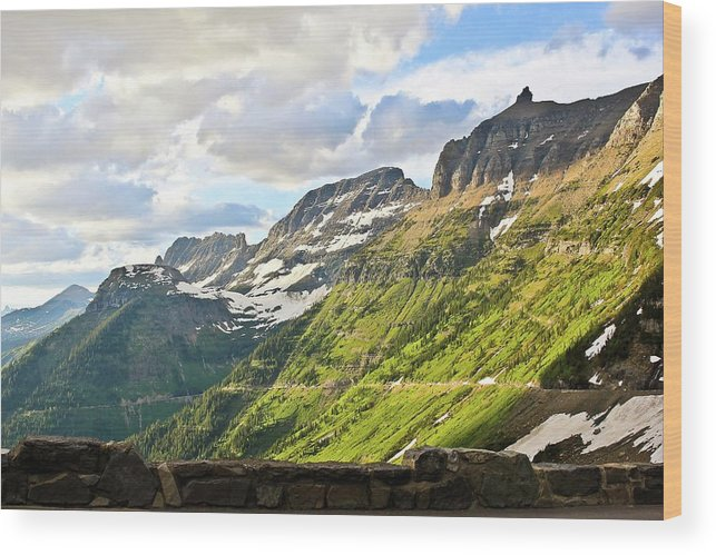 Going To The Sun Road Wood Print featuring the photograph Sunset On Going To The Sun Road by Rebecca Wineka