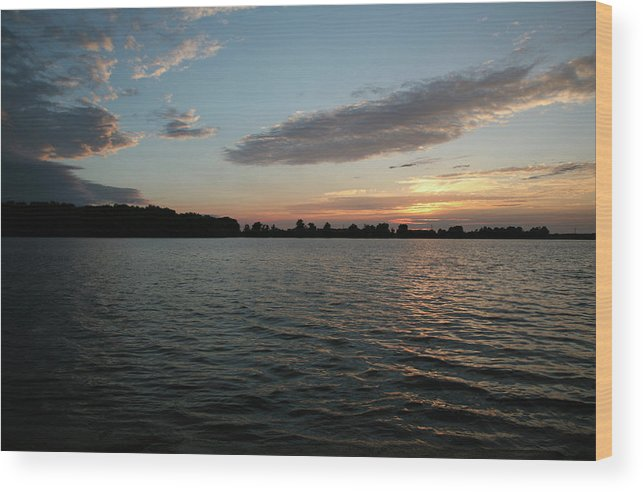 Lake Wood Print featuring the photograph Sunset On The Lake by Deborah Molitoris