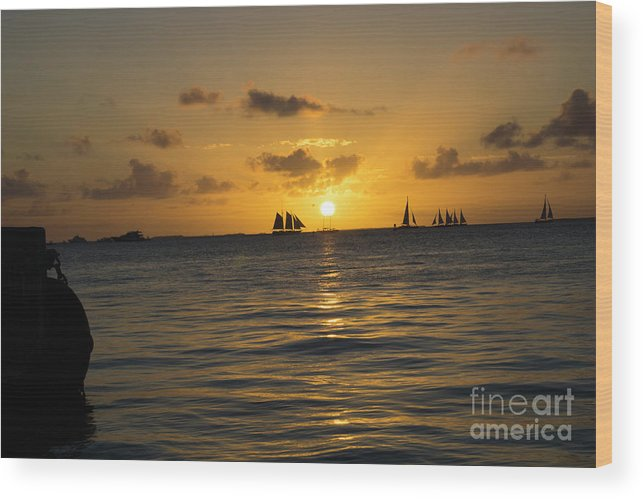 Key West Wood Print featuring the photograph Sunset On Two Masts by Randall Saltys