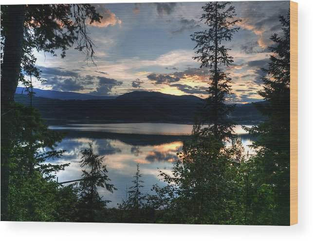 Landscape Wood Print featuring the photograph Sunset Over Arrow Lake by Peter Olsen