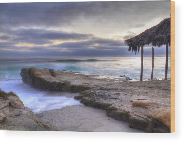 Sunset Wood Print featuring the photograph Sunset Palapa by Kelly Wade