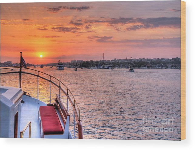 Sunset Wood Print featuring the photograph Sunset Sail by Eddie Yerkish