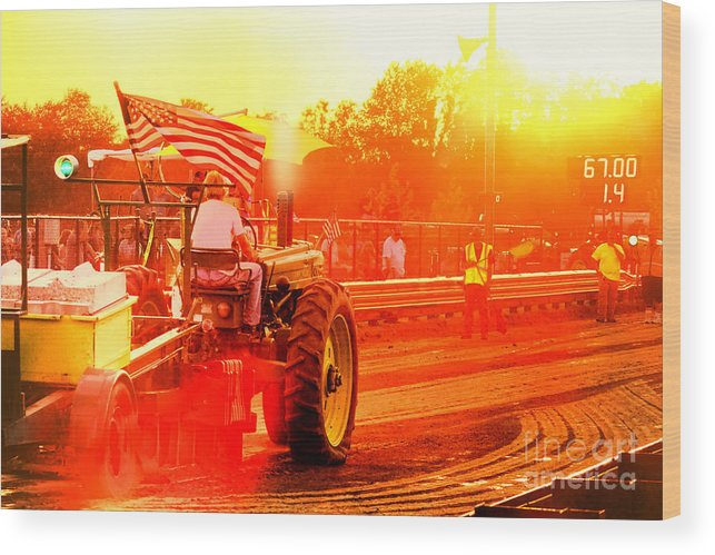 Tractor Wood Print featuring the photograph Sunset Tractor Pull by Olivier Le Queinec