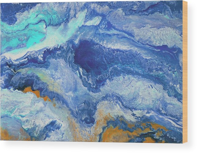 Ocean Wood Print featuring the painting Surge by Tamara Nelson