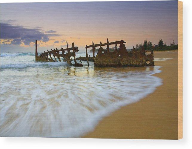 Shipwreck Wood Print featuring the photograph Swallowed By The Tides by Mike Dawson