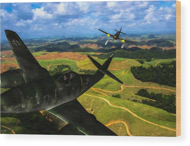 Messerschmitt Me-262 Swallow Wood Print featuring the digital art Swatting Down A Swallow - Oil by Tommy Anderson