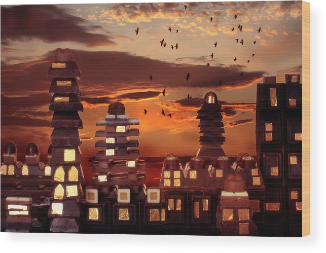 Chocolate Wood Print featuring the photograph Sweet Cityscape by Floriana Barbu