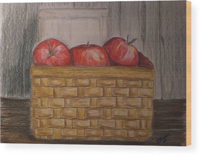 Apples Wood Print featuring the drawing Sweet Pickens by Jessica Mason