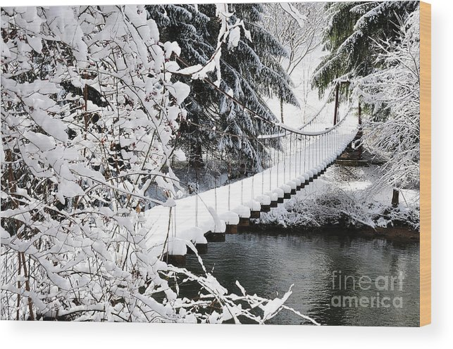 West Virginia Wood Print featuring the photograph Swinging Bridge Over Gauley River by Thomas R Fletcher