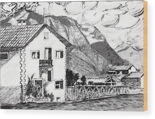 Landscape Wood Print featuring the drawing Swiss Mountain Trail by Monica Engeler
