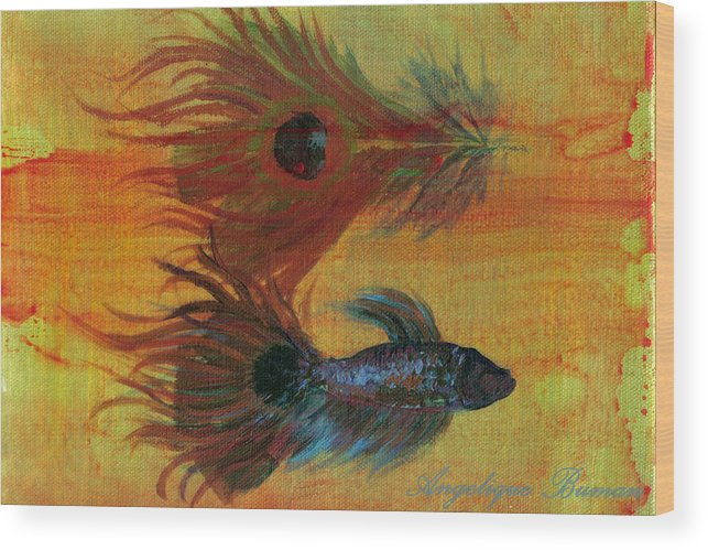 Fish Wood Print featuring the painting Tail Study by Angelique Bowman
