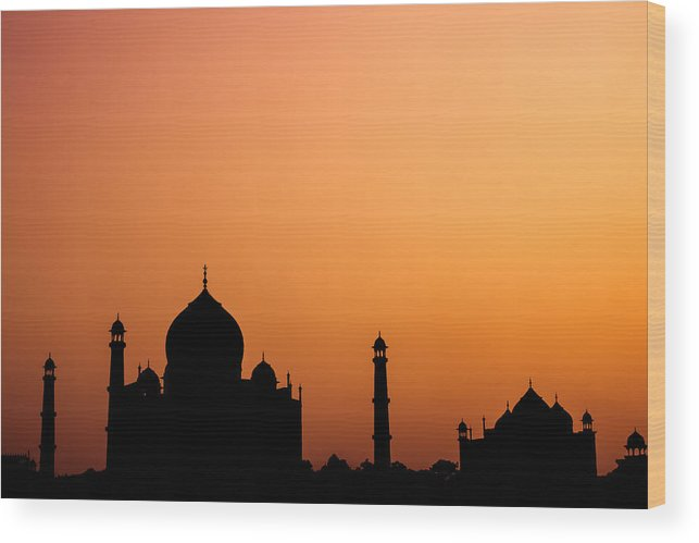 Taj Wood Print featuring the photograph Taj Mahal Silhouette by Nila Newsom