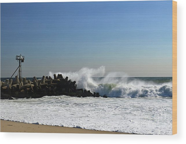 Ocean Wood Print featuring the photograph Taking A Pounding by Mary Haber