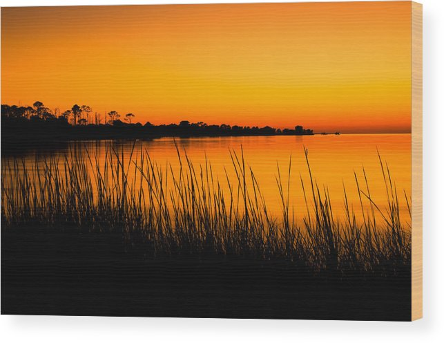 Beach Wood Print featuring the photograph Tangerine Sunset by Rich Leighton