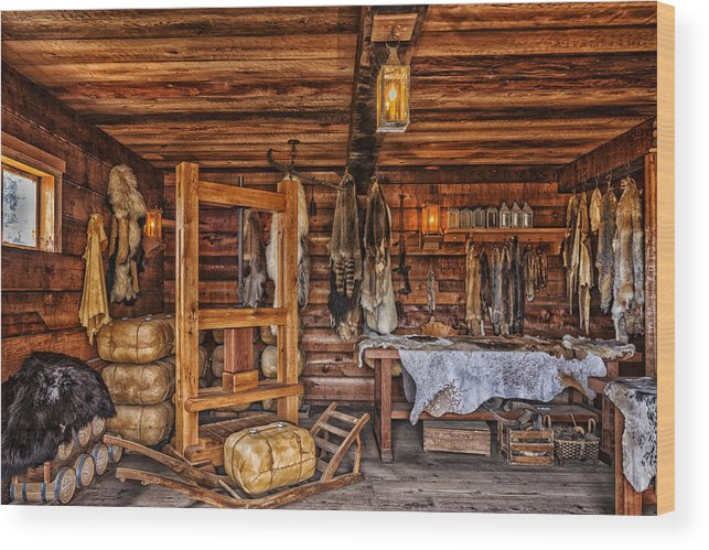 Cabin Wood Print featuring the photograph Tanning Room - Fort Ross California by Mountain Dreams