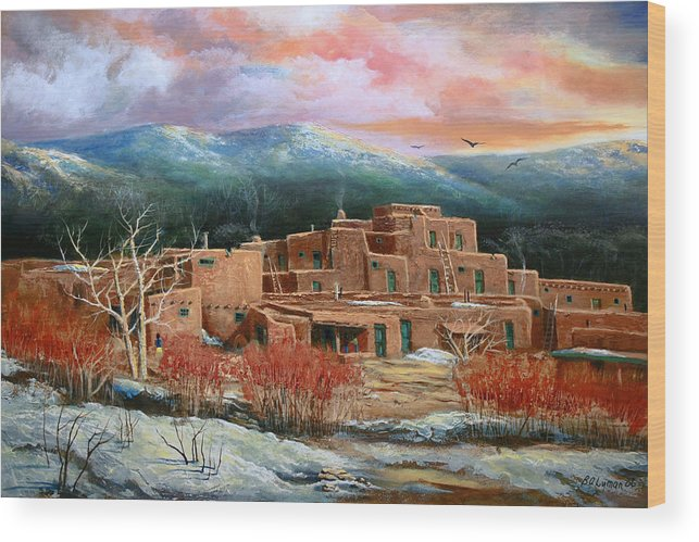 Landscape Wood Print featuring the painting Taos Pueblo by Brooke lyman