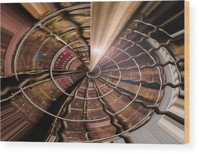 Abstract Wood Print featuring the photograph Targeting Books by Nicole Williams