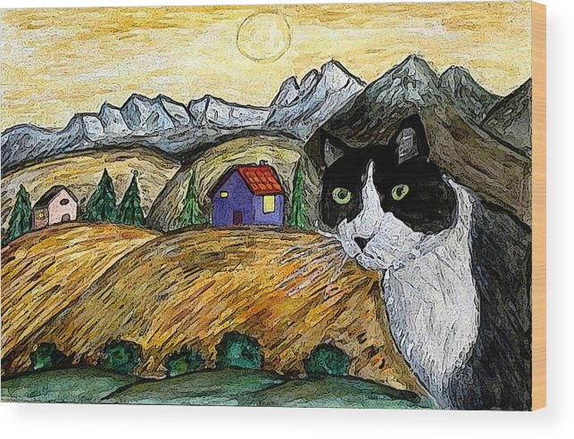 Cat Wood Print featuring the painting Tashas Sunset by Monica Engeler