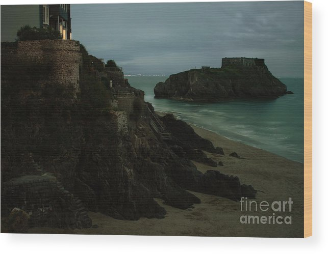 Landscape Wood Print featuring the photograph Tenby In The Night by Angel Ciesniarska