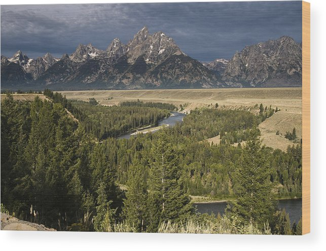 Grand Tetons Wood Print featuring the photograph Teton Valley Snake River by Chad Davis
